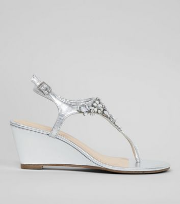 Silver Embellished Wedge Heel Sandals