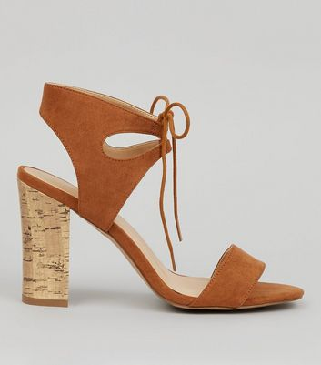 Tan Tie Up Cork Block Heels