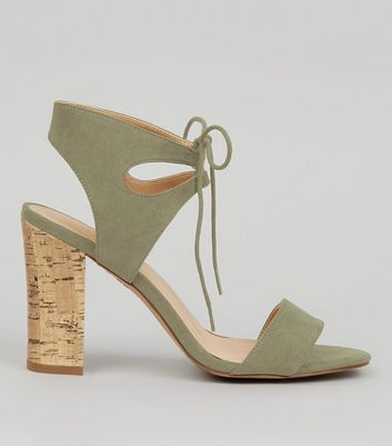 Khaki Suedette Cork Block Heeled Sandals