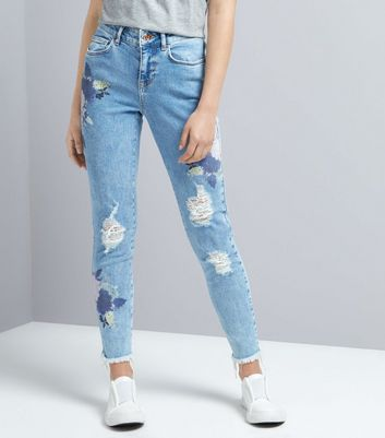 Teens Blue Floral Distressed Jeans