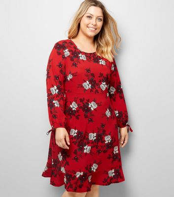 Curves Red Floral Peplum Hem Dress