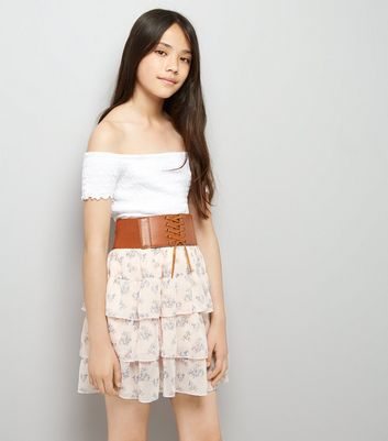 Teens Pink Floral Print Belted Tiered Skirt