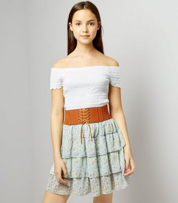 Teens Blue Floral Print Belted Tiered Skirt