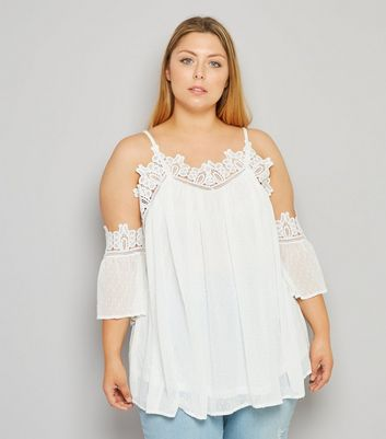 Curves Cream Chiffon Crochet Trim Cold Shoulder Top