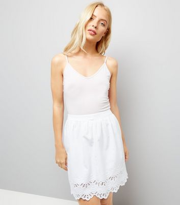 White Cut Out Hem Mini Skirt