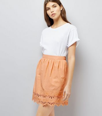 Orange Cut Out Hem Mini Skirt
