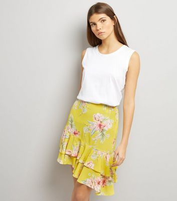 Yellow Floral Print Frill Asymmetric Hem Skirt