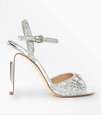 Silver Glitter Gem Embellished Heeled Sandals