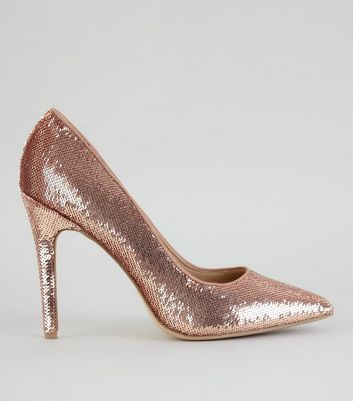 Rose Gold Sequin Pointed Heels