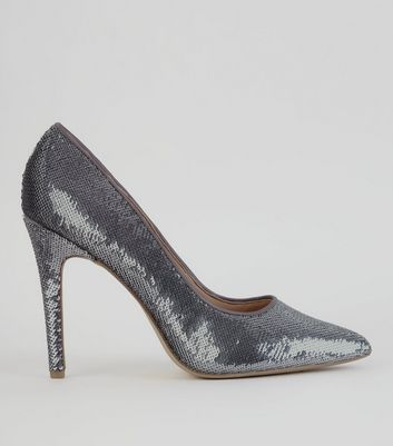 Pewter Sequin Pointed Heels