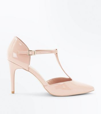 Pink Patent T-Bar Pointed Heels