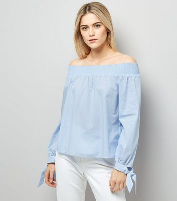 Blue Tie Sleeve Bardot Neck Top