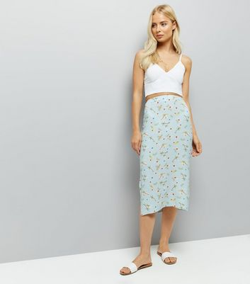 Blue Floral Print Split Side Midi Skirt
