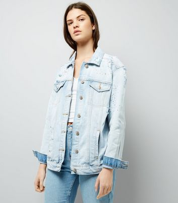Light Blue Mini Stud Denim Jacket