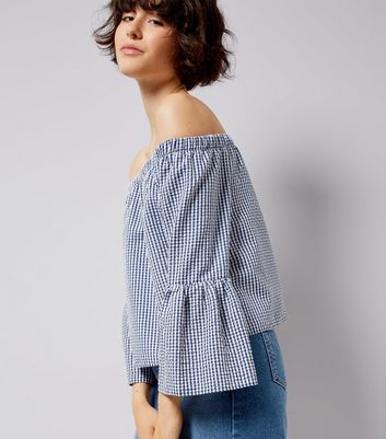 Blue Gingham Bell Sleeve Bardot Neck Top