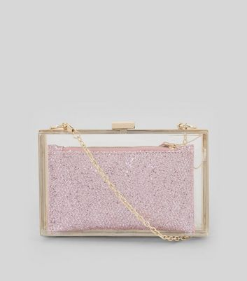 Pink Perspex 2 in 1 Clutch Bag