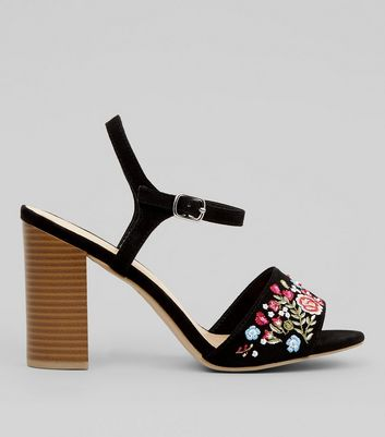 Wide Fit Black Suedette Floral Embroidered Block Heeled Sandals