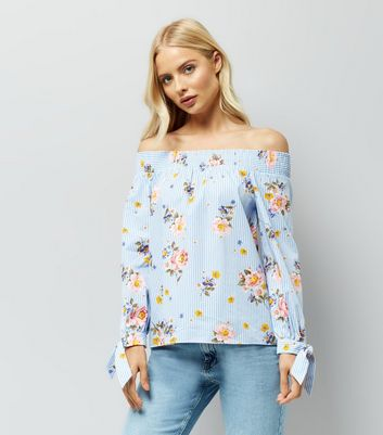 Blue Stripe Floral Print Tie Sleeve Bardot Top