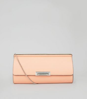Light Orange Chain Strap Clutch