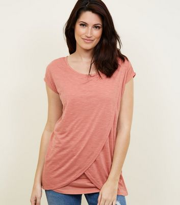 Maternity Deep Pink Wrap Front Nursing T-Shirt