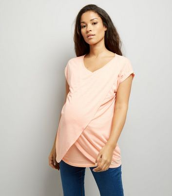 Maternity Coral Wrap Front Nursing T-Shirt