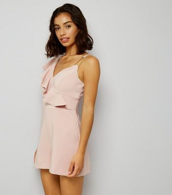 Petite Pink Asymmetric Frill Trim Playsuit