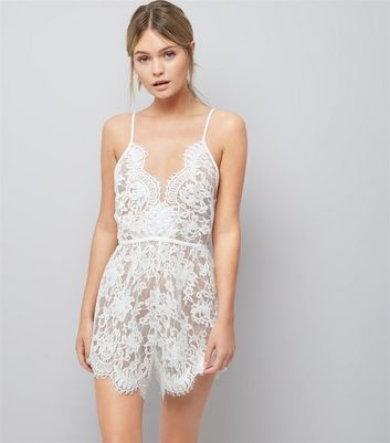 White Bridal Lace Playsuit