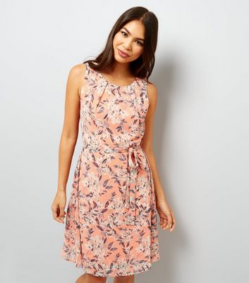 Apricot Orange Floral Print Tie Waist Dress