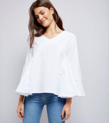 Blue Vanilla White Pearl Trim Flared Sleeve Top