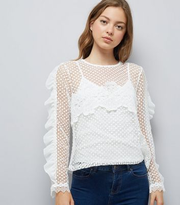 Blue Vanilla White Mesh Cut Out Frill Sleeve Top