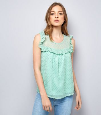 Blue Vanilla Mint Green Spot Mesh Top