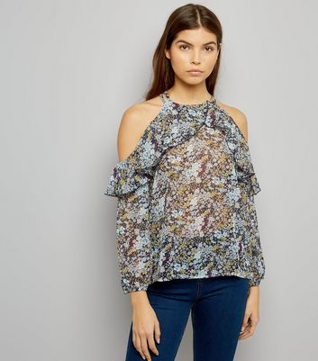 Blue Vanilla Navy Floral Print Cold Shoulder Top
