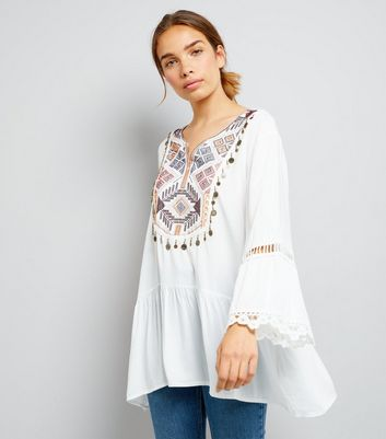 Blue Vanilla Embroidered Coin Front Top