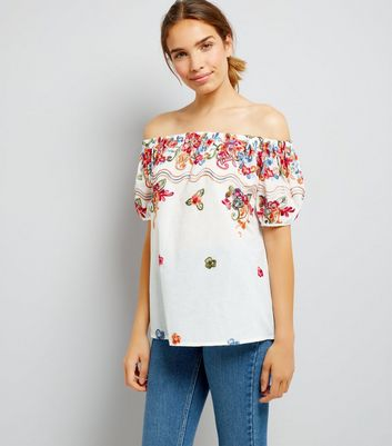 Blue Vanilla Cream Floral Print Bardot Neck Top
