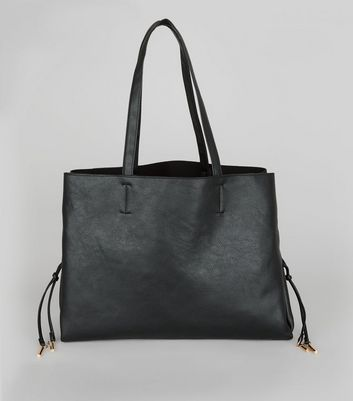Black Lace Up Sides Tote Bag