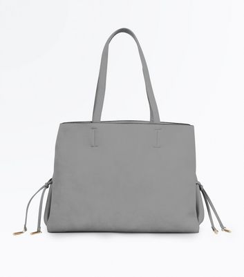 Grey Lace Up Side Tote Bag