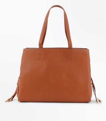 Tan Lace Up Side Tote Bag