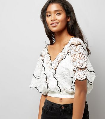 Pink Vanilla Cream Lace Contrast Trim Crop Top