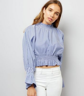 Pink Vanilla Blue Stripe Shirred Waist Top