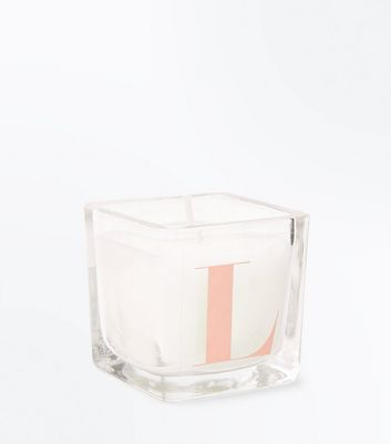 Rose Gold L Inital Candle