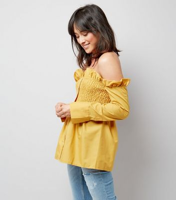 Pink Vanilla Yellow Bardot Neck Frill Trim Top