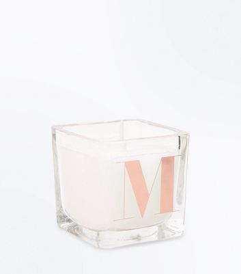 Rose Gold M Initial Candle