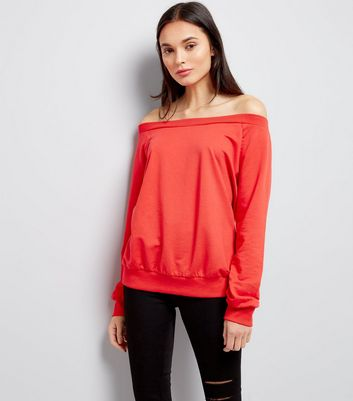 Red Bardot Neck Sweater