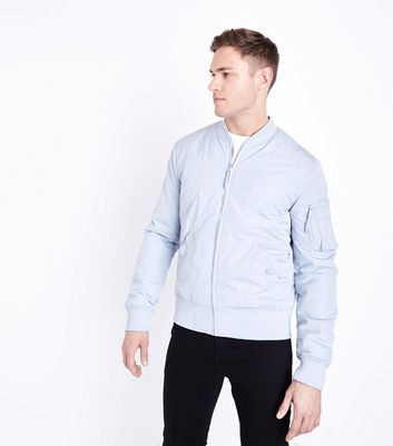 Pale Blue Matte Bomber Jacket by New Look