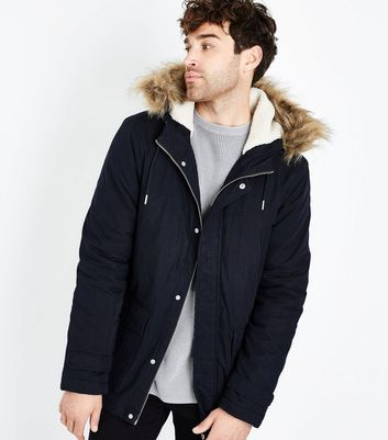 Navy Faux Fur Collar Parka Jacket