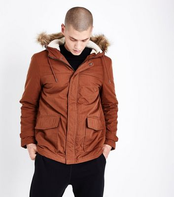 Rust Faux Fur Collar Parka Jacket