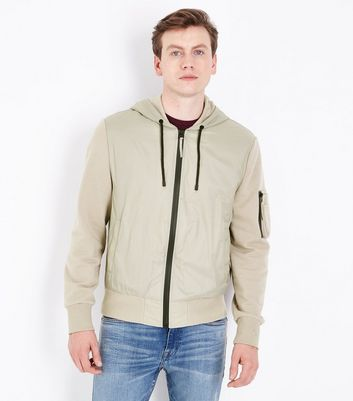 Stone Jersey Nylon Mix Zip Through Hoodie