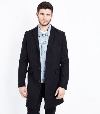 Black Longline Revere Collar Overcoat