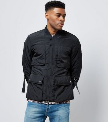 Black Lighweight Pocket Front Bomber Jacket