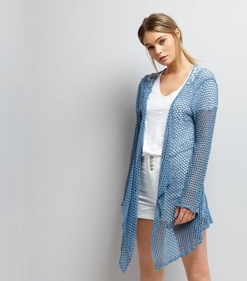Mela Blue Crochet Waterfall Cardigan
